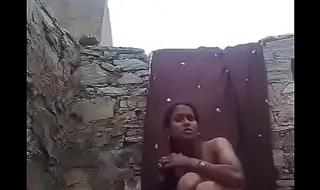 Village Girl Out Door Bathing Selfie