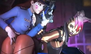 Officer D.VA X Sombra Overwatch animation elder statesman