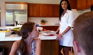 Kacy Lane and India Summer threesome sex upon the kitchen