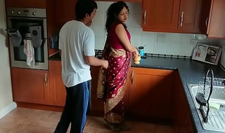 Red saree Bhabhi caught watching porn seduced and fucked by Devar harmful hindi audio desi chudai leaked scandal sextape bollywood POV Indian